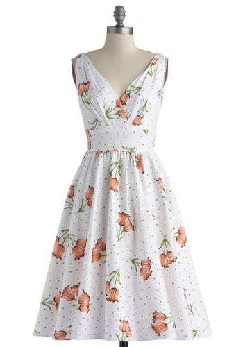 Ace of Teacakes Dress by Stop Staring! - Long, White, Multi, Polka Dots, Floral, Daytime Party, Sleeveless, Best, V Neck, Vintage Inspired, 50s, 60s, Fit & Flare, Spring