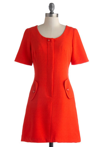 Red Haute Chile Pep Dress - Short, Red, Solid, Buttons, Pockets, Casual, Sheath / Shift, Short Sleeves, Better, Scoop, Work, Daytime Party, Vintage Inspired, 60s, Fall