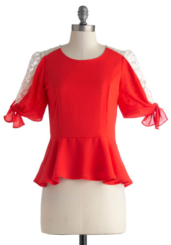 Whimsy Wonder Top - Mid-length, Sheer, Red, White, Solid, Lace, 3/4 Sleeve, Party, Work, Peplum, Red, 3/4 Sleeve