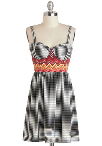 True Trailblazer Dress by Mink Pink - Multi, Stripes, Casual, Spaghetti Straps, Summer, Short, Red, Orange, Black, White, A-line, Sweetheart, Chevron