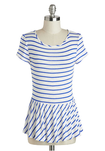 New Girl Courage Top in Blue Stripes - Mid-length, Sheer, Blue, Stripes, Work, Peplum, Short Sleeves, Scoop, Nautical, Summer, White