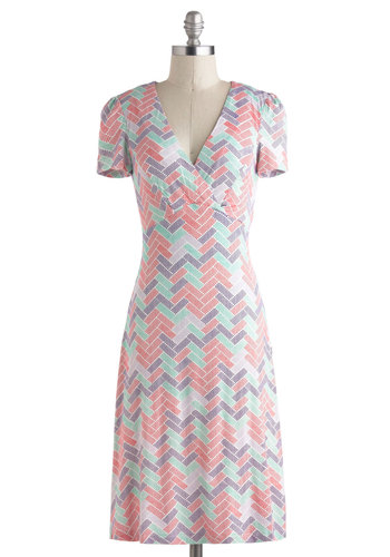 Tile Savvy Dress - Long, Multi, Red, Green, Purple, Print, Casual, Sheath / Shift, Short Sleeves, V Neck, Jersey