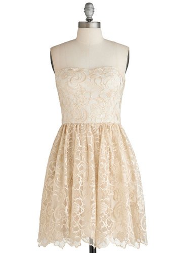 Frill Seeking Dress - Short, Cream, A-line, Strapless, Embroidery, Wedding, Exclusives, Formal, Prom, Bride