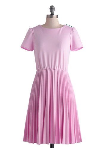 All's Fair Dress by Myrtlewood - Mid-length, Pink, Solid, Buttons, Pleats, Casual, Vintage Inspired, A-line, Short Sleeves, Exclusives, Private Label, Knit, Work