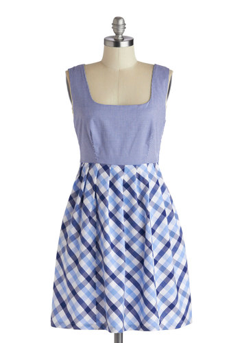 Picnic Table for Two Dress - Mid-length, Blue, White, Checkered / Gingham, Pockets, Casual, A-line, Sleeveless, Better, Plaid, Summer, Exclusives, Woven