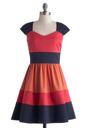 San Francisco Sorbet Dress - Mid-length, Orange, Blue, Casual, Colorblocking, A-line, Cap Sleeves, Better, Sweetheart, Pink, Daytime Party, Basic, Exclusives, Knit