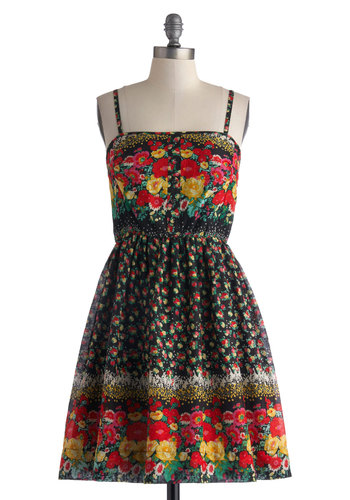 Perennial Perspective Dress - Mid-length, Floral, Buttons, Casual, A-line, Spaghetti Straps, Good, Multi, Button Down, Summer, Exclusives, Red, Woven