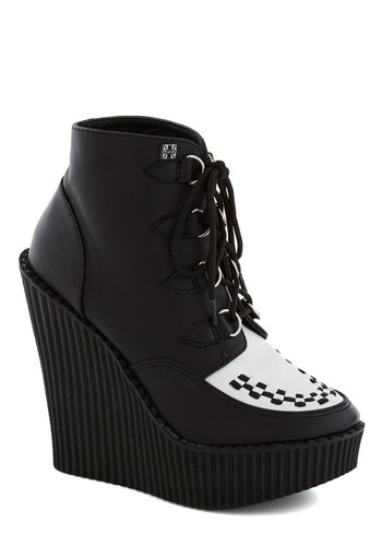 Tux of the Draw Wedge - High, Leather, Black, White, Woven, Menswear Inspired, Better, Platform, Wedge, Lace Up, Solid, Rockabilly, Fall