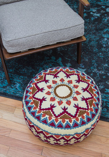 Boho Abode Pouf by Karma Living - Multi, Boho, Dorm Decor, Cotton, Daytime Party, Mid-Century