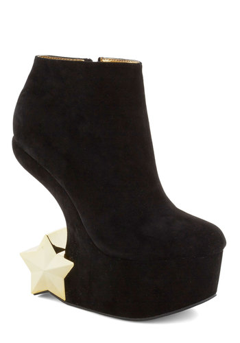 Star Light, Star Right Heel - High, Black, Solid, Statement, Better, Platform, Wedge, Gold, Girls Night Out