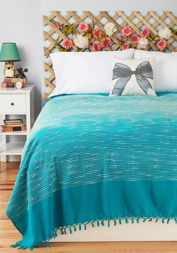 Sea of Dreams Bedspread in Full/Queen Size by Karma Living - Cotton, Blue, White, Mid-Century, Graduation, Summer