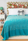 Sea of Dreams Bedspread in Full/Queen Size by Karma Living - Cotton, Blue, White, Mid-Century