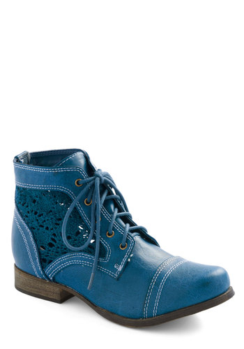 Bake a Hike Boot in Blueberry - Blue, Better, Lace Up, Crochet, Low, Faux Leather, Solid, Casual, Variation, Fall