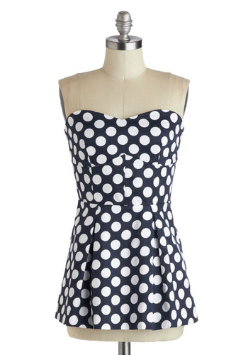 Windward of Advice Top - Cotton, Blue, White, Polka Dots, Peplum, Strapless, Party, Summer, Sweetheart, Woven