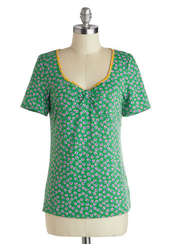 Flower Shop Stop Top - Mid-length, Green, Yellow, Pink, Floral, Short Sleeves, Casual, Knit, Green, Short Sleeve