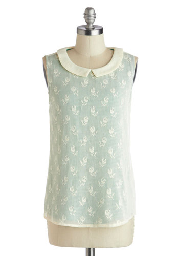 Courting the Idea Top - Mid-length, Mint, Tan / Cream, Peter Pan Collar, Work, Sleeveless, Collared, Floral, Daytime Party, Pastel, Spring, Woven, Green, Sleeveless