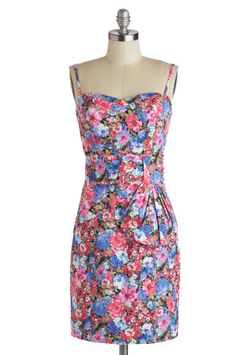 Dinner on the Deck Dress - Mid-length, Blue, Floral, Ruching, Party, Sheath / Shift, Spaghetti Straps, Better, Sweetheart, Multi, Pink, Spring, Summer, Knit