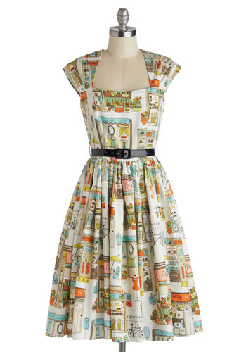 You're Inn Luck Dress in Main Street - Cotton, Long, Multi, Novelty Print, Belted, Daytime Party, A-line, Cap Sleeves, Best, White, Woven