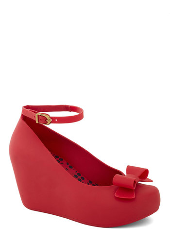 Cherry Jam Wedge by Mel Shoes - Red, Solid, Bows, Wedge, International Designer, Party, Girls Night Out, Better, Top Rated