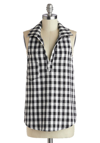 Barn to Be Wild Top - Mid-length, Multi, Black, White, Checkered / Gingham, Pockets, Casual, Rockabilly, Sleeveless, Collared, Plaid, Woven, Black, Sleeveless