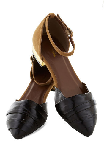Work and Play Flat - Low, Faux Leather, Black, Tan / Cream, Colorblocking, Good, Solid, Work