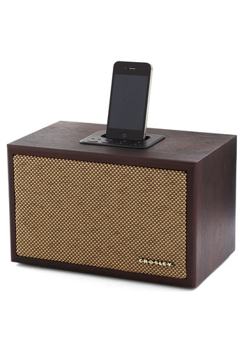Speaker of the Household Dock for iPhone & iPod - Brown, Music, Solid, Vintage Inspired, Mid-Century, Best, Press Placement