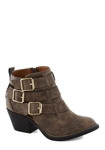 Contemporary Kick Bootie in Rustic Brown - Brown, Buckles, Steampunk, Mid, Chunky heel, Faux Leather, Better, Solid, Variation, Fall