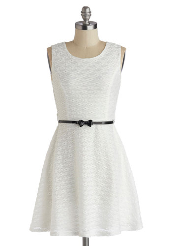 Lacefront Date Dress - Short, White, Solid, Bows, Belted, Party, A-line, Sleeveless, Scoop, Daytime Party, Graduation, Knit, Lace