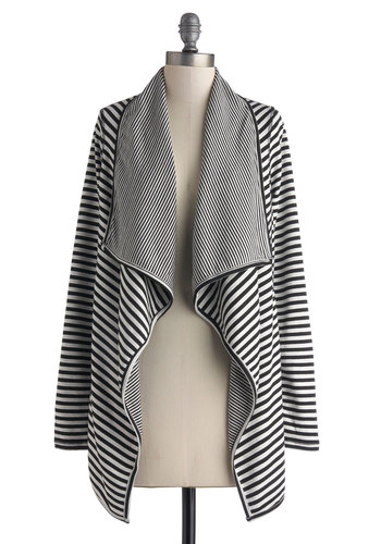 Wrapped Up in the Story Cardigan - Mid-length, Multi, Black, White, Stripes, Casual, Long Sleeve, Boho, Fall, Multi, Long Sleeve, Knit