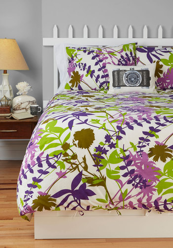 Sea and Be Serene Duvet Cover Set in Full/Queen by Karma Living - Multi, Boho, Green, Purple, White, Floral, Dorm Decor, Cotton, Woven, Variation, Best