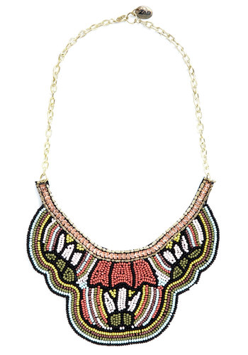 Collar Number One Necklace - Multi, Solid, Beads, Statement