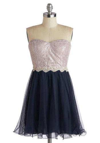 Twirl about Town Dress - Blue, Pink, Silver, Lace, Rhinestones, Prom, Strapless, Better, Sweetheart, Woven, Chiffon, Party, A-line, Twofer, Lace, Homecoming