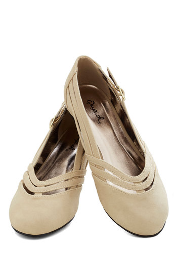 Chef Competition Flats in Vanilla - Solid, Buckles, Cutout, Flat, Good, Cream, Casual, Variation