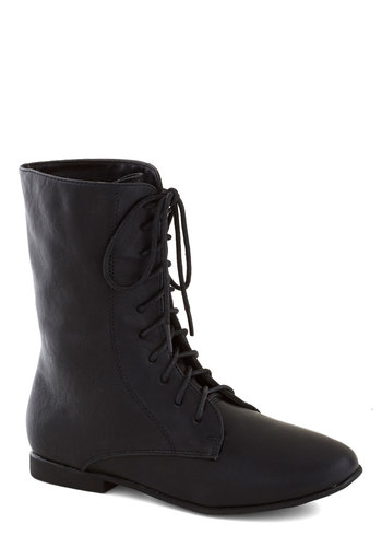Trek Prep Boot - Black, Solid, Steampunk, Flat, Lace Up, Faux Leather, Good, Casual, Fall