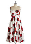 Rose to Show Dress by Stop Staring! - Long, Red, Floral, Daytime Party, Spaghetti Straps, Best, Sweetheart, Wedding, Vintage Inspired, 50s, A-line, Spring, Summer, Variation, White