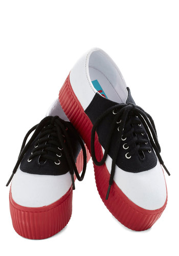 Boogie Bass Player Flatform by Jeffrey Campbell - Red, White, Menswear Inspired, Colorblocking, Low, Platform, Wedge, Lace Up, Better, Multi, Black, Party, Casual, Rockabilly, Vintage Inspired, Quirky
