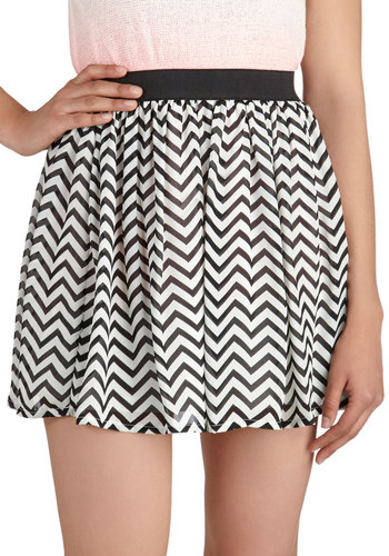 Back to Backstage Skirt - Chevron, Mini, Party, Casual, Girls Night Out, Black, White, Black, White, Short