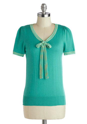 Barista in the City Top in Jade - Mid-length, Green, Solid, Bows, Tie Neck, Work, Short Sleeves, Mint, Green, Short Sleeve, Knit