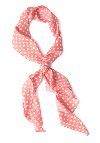 Bow to Stern Scarf in Pink Dots - Casual, White, Polka Dots, Vintage Inspired, Rockabilly, Pinup, Coral, 60s, Pink, Basic, Spring, Nautical, Beach/Resort