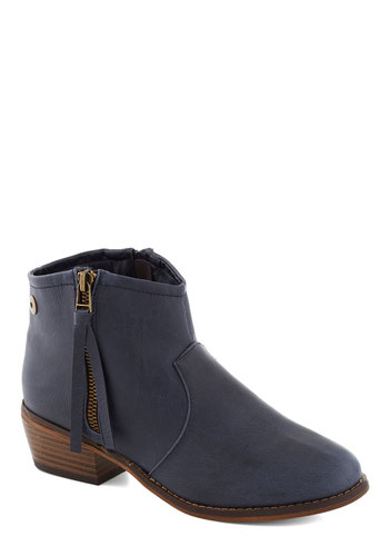 It Dusk Wonders Bootie - Blue, Solid, Boho, Low, Good, Faux Leather, Exposed zipper, Casual, Rustic, Fall, Chunky heel
