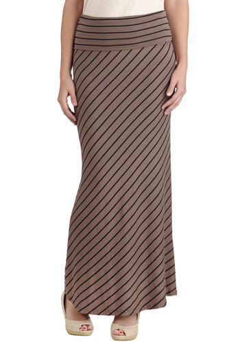 Sand and Sea Skirt - Long, Jersey, Brown, Stripes, Casual, Maxi, Knit, Fall, Brown