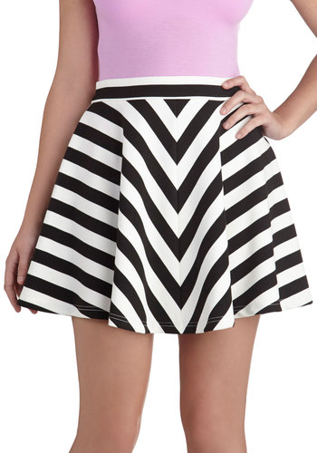 Meet Me in Pittsburgh Skirt - Short, Multi, Stripes, Party, Chevron, Girls Night Out, Urban, Ballerina / Tutu, Multi