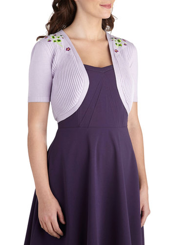 Thanks Prairie Much Cardigan - Cotton, Short, Purple, Embroidery, Pastel, Short Sleeves, Daytime Party, Purple, Short Sleeve