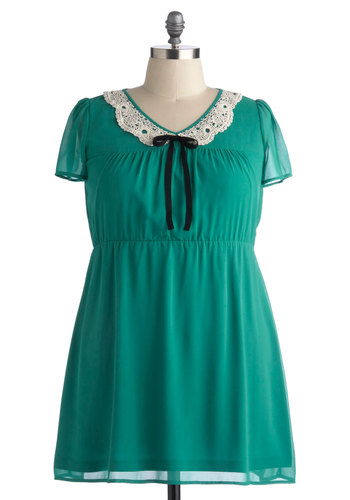 Emerging Poetess Dress in Plus Size - Green, Tan / Cream, Bows, Crochet, Casual, Short Sleeves, Better, V Neck, Solid, Daytime Party, A-line, Chiffon, Woven, Exclusives