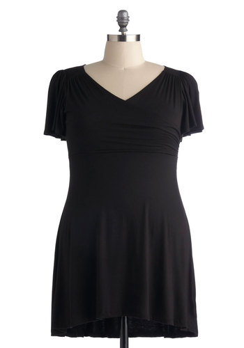 Like Sunday Morning Dress in A Snap - Plus Size - Black, Solid, Ruffles, Casual, A-line, Empire, Short Sleeves