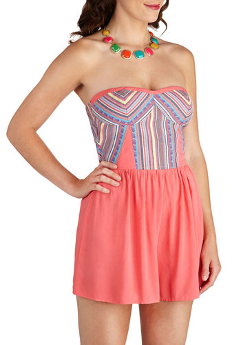 Bubble the Fun Romper in Strawberry - Long, Pink, Multi, Stripes, Casual, Beach/Resort, Strapless, Summer, Variation, Sweetheart