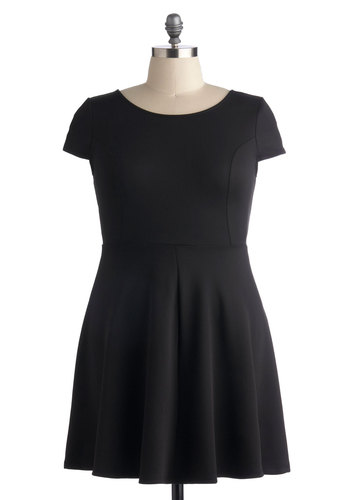 Jazz Standards Dress in Plus Size - Mid-length, Black, Solid, A-line, Cap Sleeves, Party, Work, Exclusives