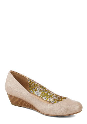 Commuter Genius Wedge in Metallic - Tan, Work, Graduation, Wedge, Low, Faux Leather, Good, Solid, Daytime Party, Variation
