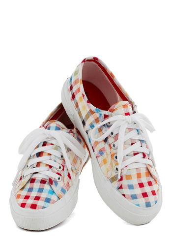 Front Yard and Center Sneaker - Checkered / Gingham, Casual, Low, Best, Platform, Lace Up, Multi, Plaid, Vintage Inspired, 90s, Woven