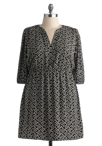 Beneath the Elm Tree Dress in Plus Size - Black, White, Print, Buttons, Casual, 3/4 Sleeve, Good, A-line, Fall, Work, Exclusives